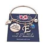 Yoosteel Butterfly Charm Bracelets for Women Girls, Expandable Inspirational Bracelet Initial E Charm Rose Gold Butterfly Bracelets for Women Kids Girls Jewelry