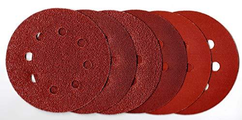 120 Bl. P-D-W® - Schleifpapier Ø115mm Exzenter - Multi - Schleifscheiben 8-Loch 6 Körnungen K40│K60│K80│K120│K180│K240 je 10