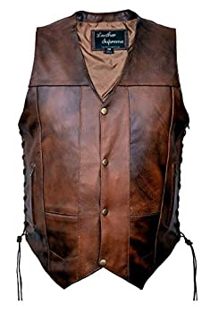 Leather Supreme Men s Ten Pocket Concealed Carry Retro Brown Buffalo Hide Leather Vest with Removable Holster-Brown-46