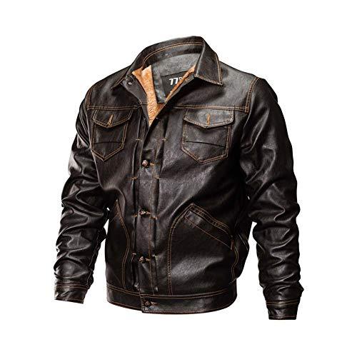 DAFAMOTORBIKE Herren Lederjacke Motorradjacke Biker Jacke Winter Tops Rindleder Biker Motorrad,Braun,XL
