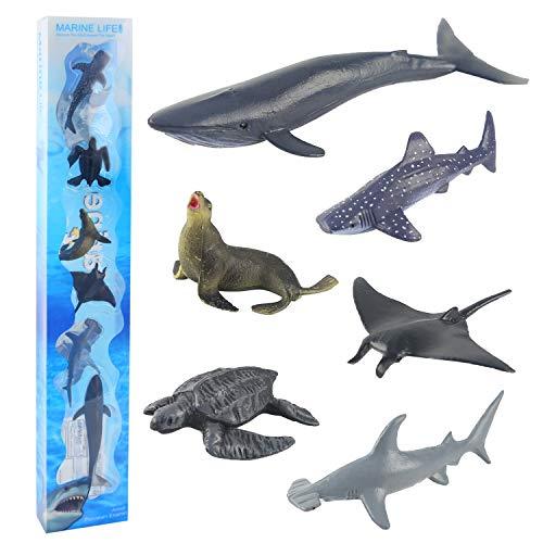 Meerestiere Spielzeug Tiere Badespielzeug Figuren Spielfigur für Kinder Zum Lernen Party Kuchen Hammerhai Mantarochen Walhai