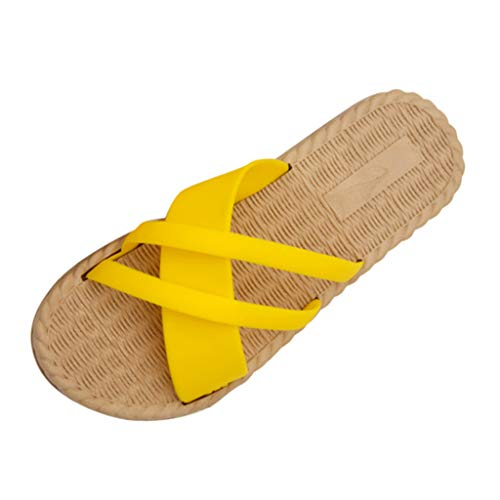 Sandalias Verano Planas de Peep Toe Chanclas para Mujer Casuales Zapatos de Playa Antideslizantes para Piscina Interior y Casa Fannyfuny