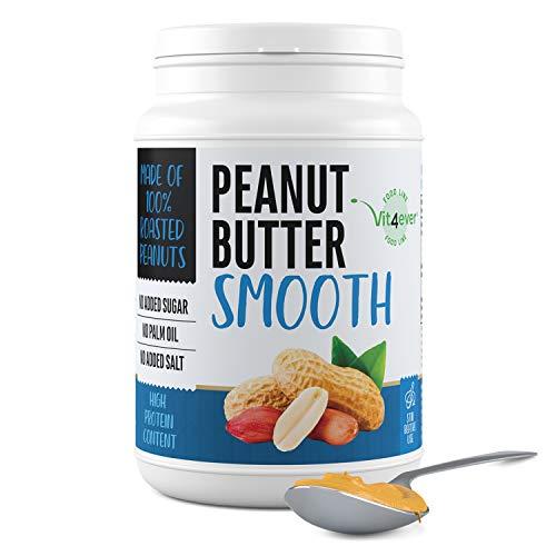 Peanut Butter Smooth - 1kg di burro di arachidi naturale senza additivi - 30% di proteine - burro di arachidi senza aggiunta di sale, olio o grasso di palma - vegan