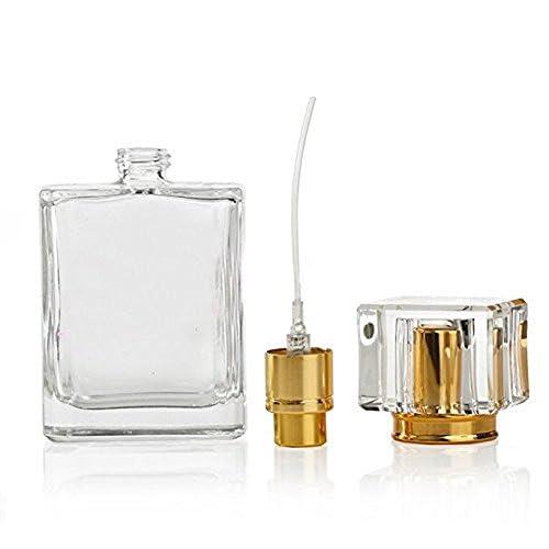 Flacone vuoto spray in vetro, 1da 50ml, ricaricabile, in vetro trasparente, per profumo, con nebulizzatore
