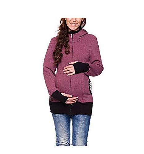 Mujer Canguro mamá Chaqueta con Capucha con Bolsa para bebé Maternidad Portador de bebé Camisa de Entrenamiento,Fuchsia,XXL
