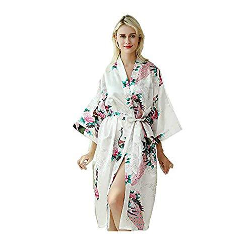 TIUTIU Frauen 100% Seide Pyjama Kleid Sexy Robe Pfau Und Blumen Langen Hausdienst Dünnen Bademantel