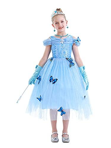 WonderBabe Vestidos de princesa para nia pequea con accesorios, Azul+accesorios2, 7-8 Aos