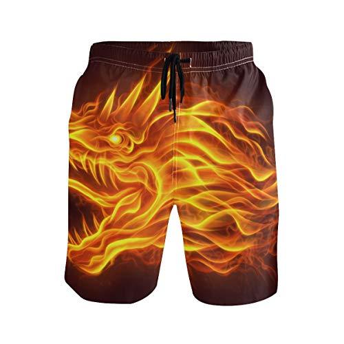 SENNSEE Fire Dragon braune Badehose für Herren Jungen Quick Dry Beach Shorts mit Taschen Kordelzug Gr. Verschiedene Größen, mehrfarbig
