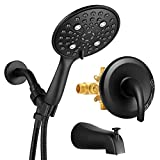 YITAHOME Handheld Shower Head, High Pressure 6-Setting Rain Shower System with Tub Spout, Bathroom Luxury Rain Mixer Shower Combo Set, Touch Clean Rough-in Valve & Trim Kit Included Matte Black