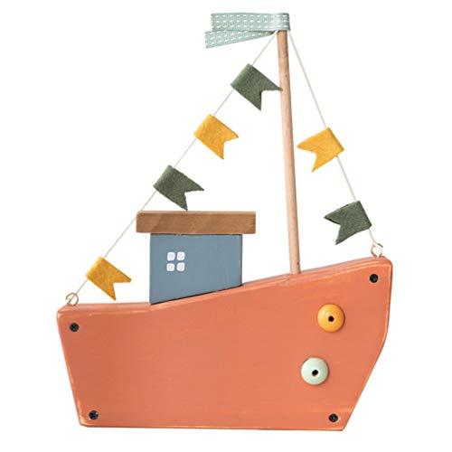 BESPORTBLE Holz Segelboot Modell Mediterranen Stil Segelschiff Tisch Schreibtisch Miniatur Boot Spielzeug Dekorative Partyraum Schiff Ornament Orange 24. 3X20cm