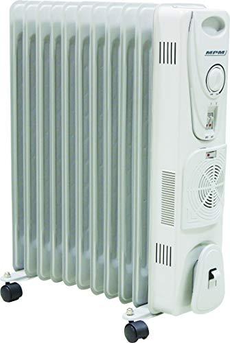 MPM MUG-14 Radiador de Aceite Portátil con Turbo-Fan y Termo, 2700 W, 0 Decibeles, Blanco