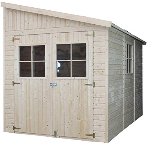 TIMBELA Wooden Garden Lean To Shed (with a side wall) - Outdoor Storage with Windows – W7ft x L10ft x H10ft Timber Shiplap Shed - Garden Workshop - Bike, Tool Shed Storage M339A