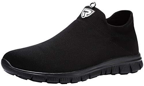 LARNMERN Zapatos de Seguridad Hombre Mujer Zapatillas de Seguridad con Punta de Acero Cómodo Ligeros Transpirablesin Cordones Trabajo, 42 EU Negro