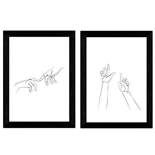 Nacnic set van 2 vellen tekeningen met een lijn