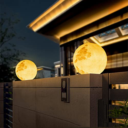 YMNLZ Diseño Luna Lámpara de Exterior, LED Columna Faro Exterior Resina Lámpara de Pie Exterior, IP65 Impermeable Luces de Jardín Moderno Decorativa Para Caminos Patio Terraza Porche,30cm