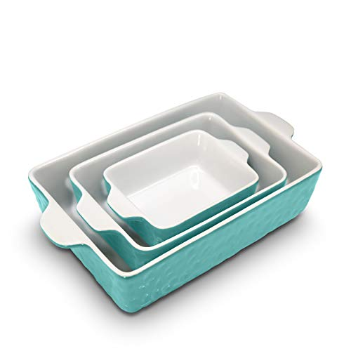 NutriChef 3Pcs. Nonstick Bakeware PFOA PFOS PTFE Tray Set w Odor-Free Ceramic, 446°F Oven Microwave Dishwasher Safe Rectangular Baking Pan, Aqua