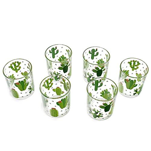 takestop Bicchieri in Vetro Trasparente Set 6 Pezzi con Motivo da 250 Ml 8x6x6 Cm (Cactus)