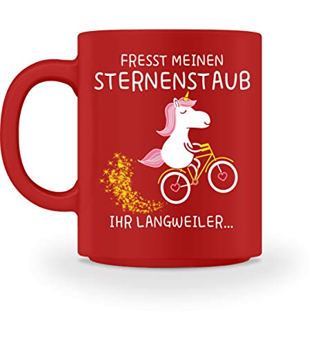Shirtee Einhorn Tasse · Einhörner · Fabelwesen · Glitzer · Kaffeetasse · Fabel · Unicorn · Pink · - Tasse -M-Rot