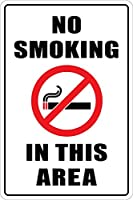 2個 このエリアでは禁煙ブリキサインメタルプレート装飾サイン家の装飾プラークサイン地下鉄メタルプレート8x12インチ メタルプレートブリキ 看板 2枚セットアンティークレトロ