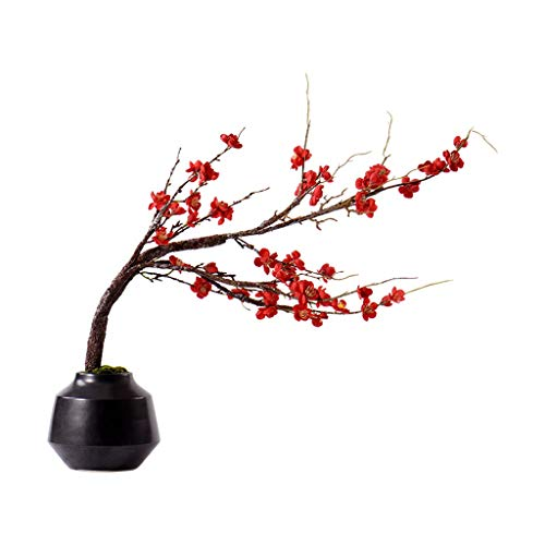 Flores Artificiales Planta chino Zen Simulación Tiesto, Villa Hotel Home Artificial Cera de ciruelo en maceta de cerámica Conjunto de Bonsai, Bonsai artificiales flor artificial artificial de la plant