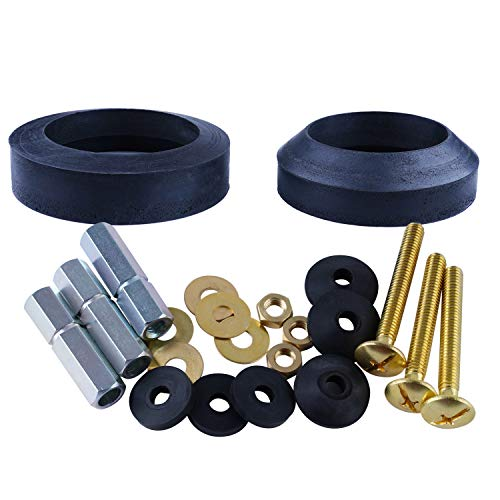 Universal Toilet Tank To Bowl Gaskets with 3 Set Brass Hardware Kits Fits Most 3-Inch 3.5-Inch flush valve opening 2-Piece Toilet Tanks