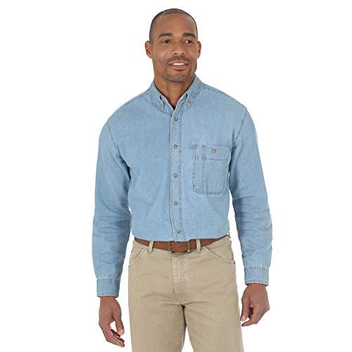 Wrangler Men's Rugged Wear Basic One-Pocket Denim Shirt, X-Large