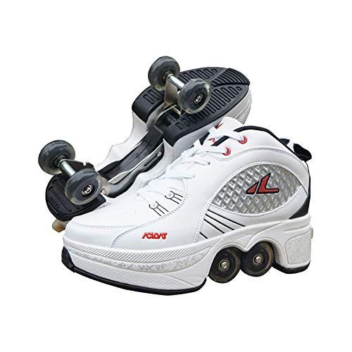 Wedsf Instelbare loopschoenen, sneakers, multifunctionele vervormingsschoenen, 2-in-1 schoenen, quad, skate/outdoor-sportschoenen, volwassenen, turnschoenen, wieltjes, maat 34