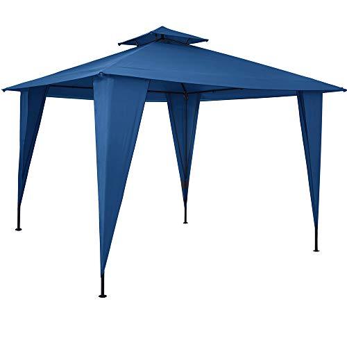 Pavillon 3,5x3,5m Gartenzelt wasserdicht Partyzelt mit Dachhaube UV-Schutz 50+ Festzelt Sairee Garten Terrasse Blau