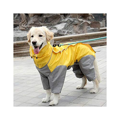 Hopereo Regenmantel Große Hunde-Bekleidung Wasserdicht Overall Golden Retriever Labrador Husky Big Pet Kostüm, Gelb, 28