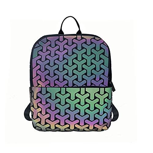 QIANJINGCQ nueva moda láser luminoso rejilla de diamantes estudiantes hombres, mujeres y niños camaleón bolso geométrico mochila salvaje