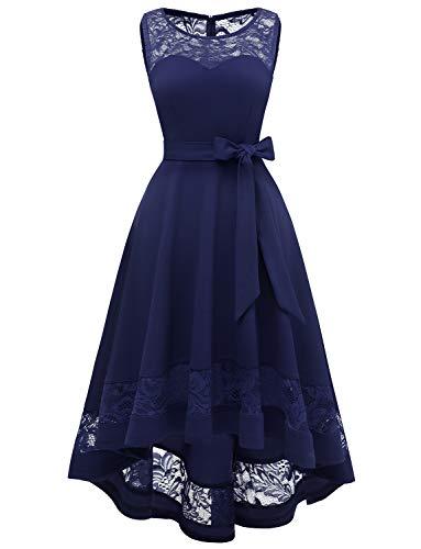 Gardenwed 1950er Vintage Floral Spitzenkeider Abendkleider Lang Kleider Hochzeitsgast Damen für Hochzeit Marineblaues Sommerkleid Navy 3XL