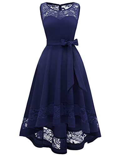Gardenwed Damen Vintage 1950er Cocktailkleid Spitzen Schwingen Pinup Rockabilly Kleid Unregelmässig Brautkleider für Hochzeit Navy S