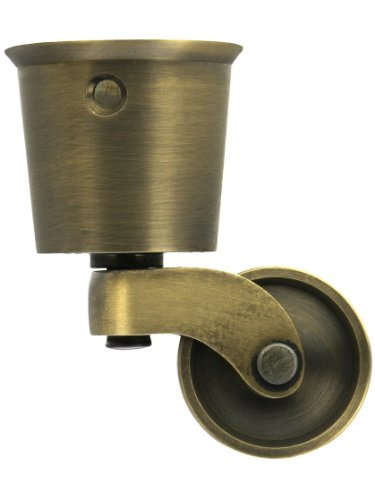 Solid Brass Round Cup Caster with Brass Wheel in Antique-by-Hand Finish