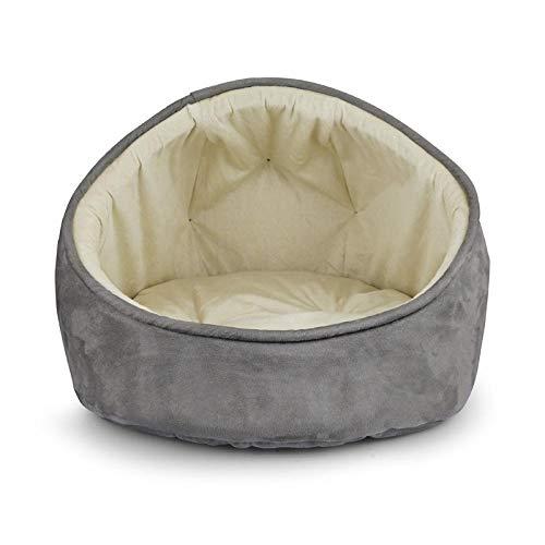 Ygccw Memory Foam Pluche Hond Bedden Hondenmand Bed Dekens Lounger Huisdier benodigdheden Lederen half-dak semi-gesloten warme kat nest grijs 46 * 46 * 36cm