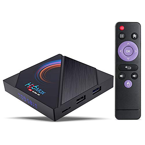 Android TV-Box, H96 Max Android 10.0 TV-Box【4 GB RAM 32 GB】 ROM H616 Quad-Core-ARM Cortex A53 Unterstützt 2.4 G 5 G Dual-WLAN / BT 4.0 / 6K / USB 2.0 / 3D / H.265 Smart-TV-Box