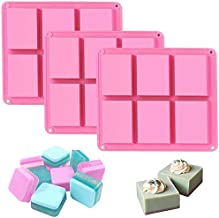 Silicone Soap Molds Set of 3, 6 Cavities DIY Handmade Soap Moulds - Cake Pan Molds for Baking, Biscuit Chocolate Mold, Sil...