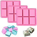 Silicone Soap Molds Set of 3, 6 Cavities DIY Handmade Soap Moulds