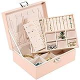 Allinside Caja Joyero, Caja para Joyas, 2 Niveles Organizador de Joyería con...