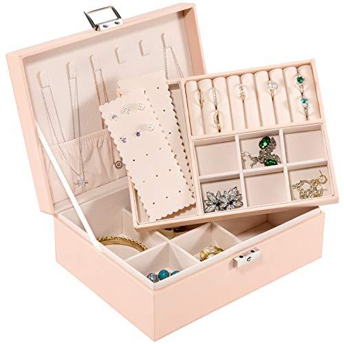 Allinside Caja Joyero, Caja para Joyas, 2 Niveles Organizador de Joyería con Cerradura para Mujeres Niñas, Cuero PU, Forro de Terciopelo, Rosa
