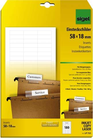 SIGEL PC-Einsteckschilder für Hängemappen, 58 x 18 mm, weiß, 180 Stück; Packungsinhalt: 180 Stück