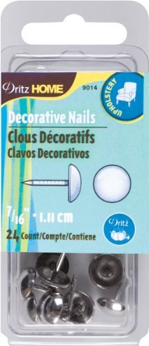 Dritz 9014 Upholstery Decorative Smooth Head Nails, Nickel, 7/16-Inch, 24-Pack by Prym Consumer USA (English Manual)