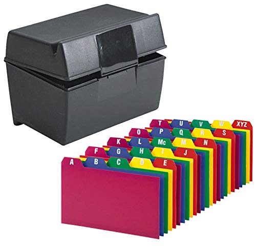 """Index Card Holder, Index Cards Storage Box Holds Up To 300 3x5"""" Cards, With Poly Card Guides A-Z, 3x5 Inch - Value Pack"""