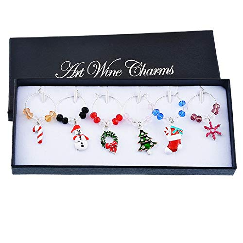 Souarts Mixed Christmas Wine Glass Charms Snowflake Markers Tag Pendant Set with Box Pack of 6pcs Santa Wine Charms for Stem Glasses