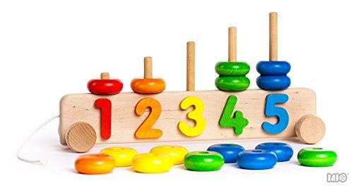 Speelgoed houten speelgoed kinderspeelgoed motorisch speelgoed houten piramide op wielen