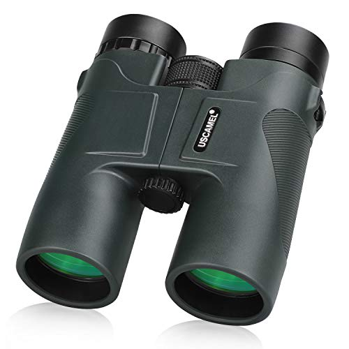 USCAMEL Binoculars Bird Watching, 10x42 Compact for Adults Military HD Professional Hunting Telescope Pocket Size for Travel - Army Green