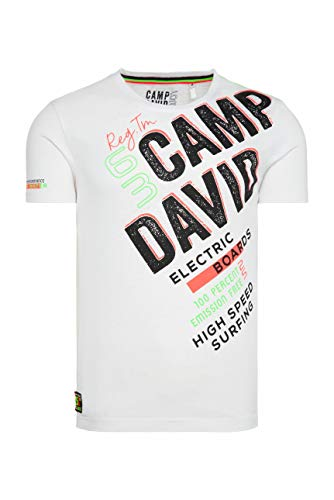 Camp David Herren T-Shirt mit Logo und Ausbrenner-Effekten