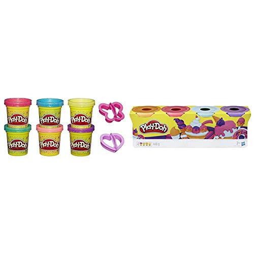 Play-Doh A5417EU8 Glitzerknete für fantasievolles und kreatives Spielen, Multicolor & 4er-Pack Sweet, tolle Farben für Kinder ab 2 Jahren, 112g-Dosen, Knete für fantasievolles und kreatives Spielen