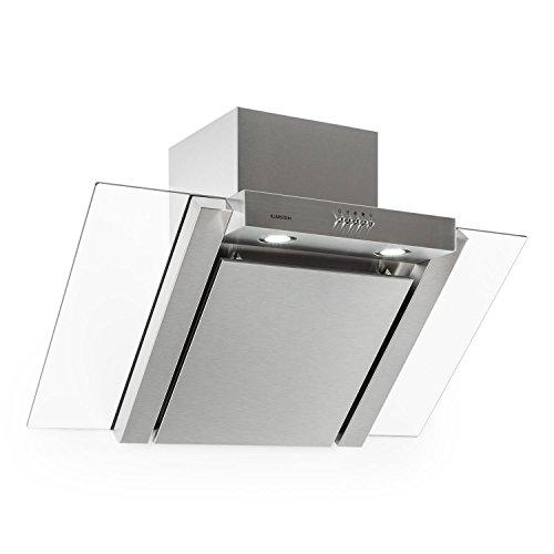 Klarstein RGL90WS Cappa Aspirante in vetro e design moderno (90 cm, potenza di aspirazione pari a 350 m³/h, 3 livelli di potenza, timer spegnimento, canna fumaria in due elementi) - argento