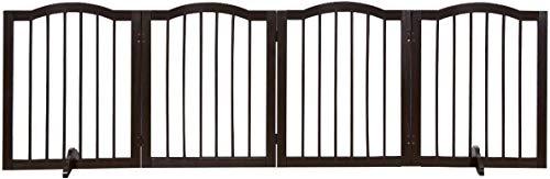 GYMAX - Barrera de Seguridad para Puerta de Mascota, Plegable, 4 Paneles, 61 cm de Altura, Valla para Perro