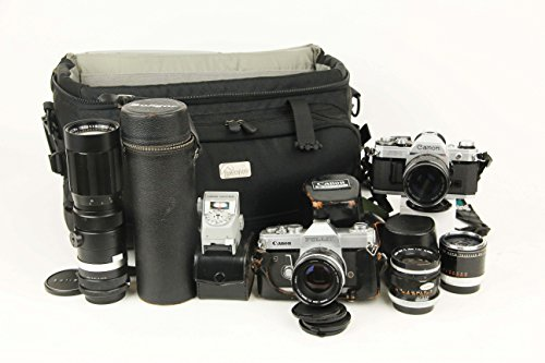 Canon A-1 Camera with Telephoto Lens and Accessories